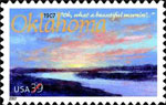 Oklahoma Statehood stamp created by Mike Larsen